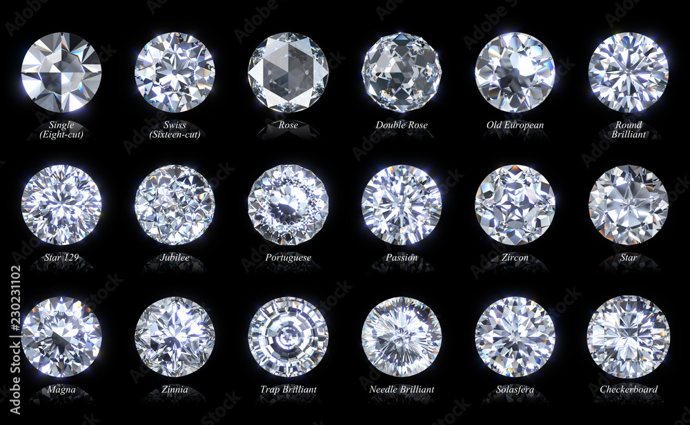 Fototapety, obrazy: Eighteen diamond cut varieties of round shape with titles isolated on black background. 3D illustration