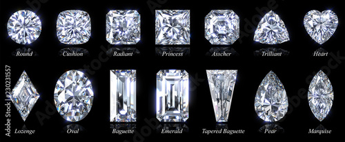 Obraz Fourteen popular diamond shapes with titles isolated on black background. 3D illustration - fototapety do salonu