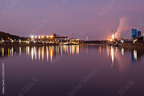 Foto op Canvas Poort harbor at night
