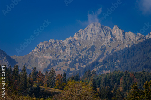 Top of a mountain in the European Alps in Austria in autumn colors, nature background concept