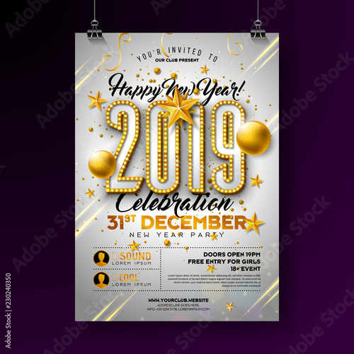 2019 new year party celebration poster template illustration with lights bulb number and gold christmas ball