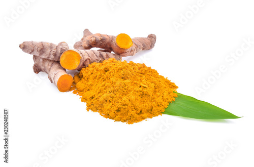 Canvas Prints Condiments Turmeric roots and turmeric powder on white background