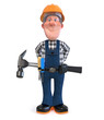 3d illustration Builder worker in overalls with hammer/3D illustration of funny engineer plumber character engaged in repair
