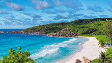 Sea View. Exotic Sandy Beach With Beautiful Rocks And Turquoise Sea In Paradise Island.