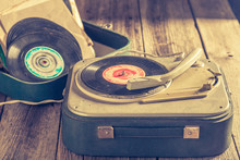 Classic Gramophone And Vinyls As Toned And Filtered Photo