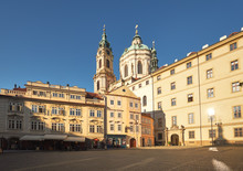 St. Nicolas Church And And Old Buildings In Central Prague