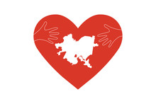 Pittsburgh Map With Heart And Helping Hands Vector Illustration. Great As Donate, Relief Or Help Victims Icon. Support For Volunteer Charity Work After Squirrel Hill Synagogue Mass Shooting