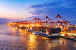 canvas print picture - Container ship in export and import business and logistics. Shipping cargo to harbor by crane. Water transport International. Aerial view