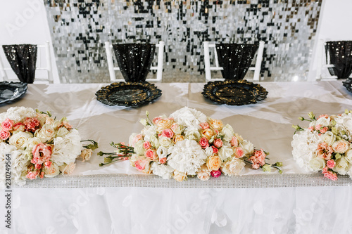 Luxury Wedding Decor With Flowers And Glass Vases Arrangements Of