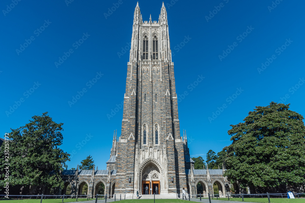 Fototapety, obrazy: Front view of the Duke Chapel tower in early fall, Durham, North Carolina