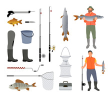 Fishing Tools Isolated On Whit...