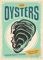 Fototapeta Do gastronomi Fresh oysters retro poster design template. Ad banner menu for seafood restaurant.
