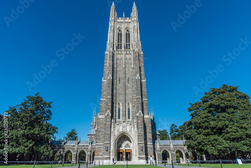 Fotografija Front view of the Duke Chapel tower in early fall, Durham, North Carolina