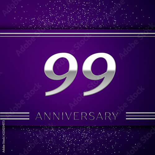 Photographie  Realistic Ninety nine Years Anniversary Celebration design banner