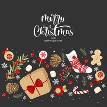 Vector Greeting Cards. The Inscription Merry Christmas . Handwritten Modern Brush Lettering. Hand Drawn Design Elements.