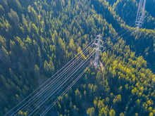 Aerial View Of Power Line Pylo...