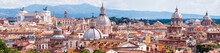 Aerial Panoramic View Of Rome, Italy. Skyline Of Old Roma City.