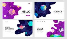Set Of Web Banners Templates. Presentation. Space Explore. Cartoon Vector Illustration.