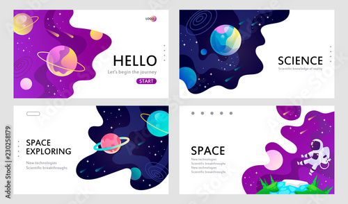 Fototapeta set of web banners templates. presentation. space explore. cartoon vector illustration. obraz