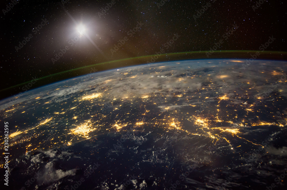 Fototapeta Lights from areas in the Gulf Coast states of Texas, Louisiana, Mississippi and Alabama, satellite view, The elements of this image furnished by NASA.