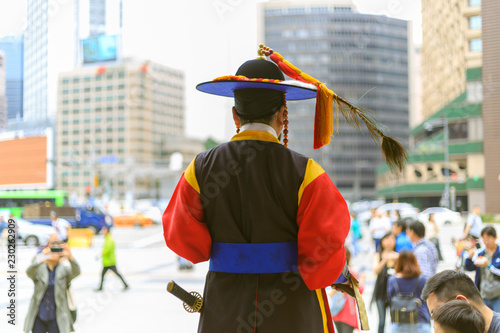 A soldier in traditional costume in Seoul capital oh South Korea