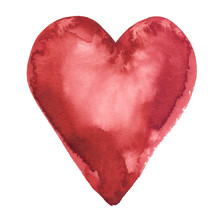 Simple Abstract Dark Red Heart Painted In Watercolor On Clean White Background