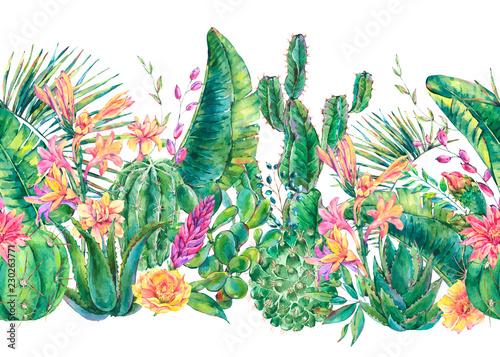 egzotyczny-naturalny-rocznik-akwarela-kwitnaca-kaktusowa-bezszwowa-borde