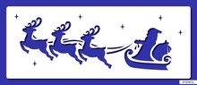 Stencil With Flying Santa Claus, Reindeer, Bag With Presents And Stars. Festive Decoration For Christmas Or New Year. Template For Laser Cutting, Wood Carving, Paper Cut And Printing. Vector Image.