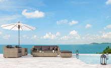 Outdoor Pool Terrace Living Area 3d Render,There Are White Marble Floor.Furnished With Rattan Furniture.There Have Bright Sunlight And Beautiful Sea View.