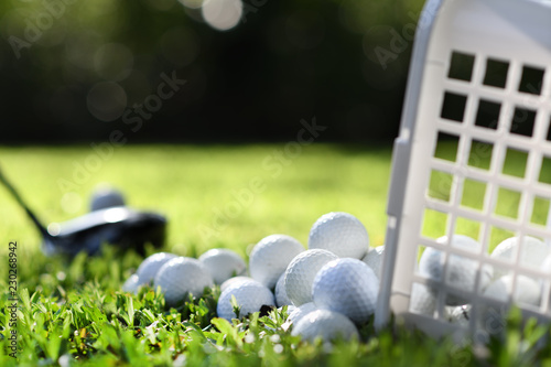 Golf balls in basket on green grass for practice