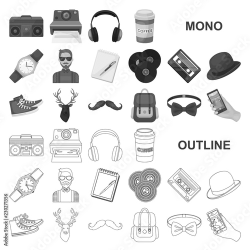 Style Hipster monochrom icons in set collection for design Canvas Print