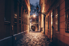 Old Town Street At Night In Budapest, Hungary