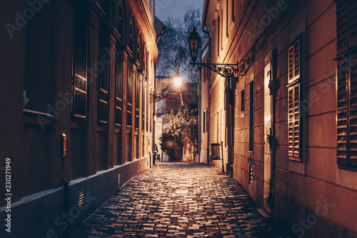 Obraz Old town street at night in Budapest, Hungary - fototapety do salonu