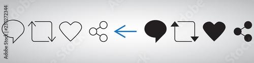 Obraz Set of Internet icons in black and white. Vector illustration - fototapety do salonu
