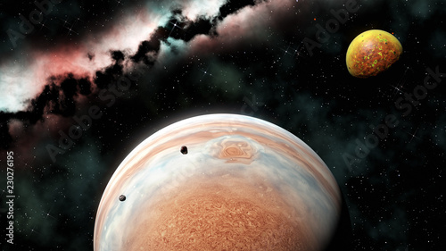 gas giant planet and volcanic moon (like Jupiter and Io), 3d render Wallpaper Mural