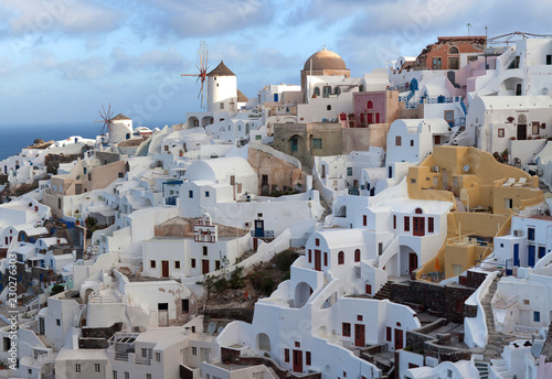 Oia town at sunset, Santorini island, Cyclades, Greece