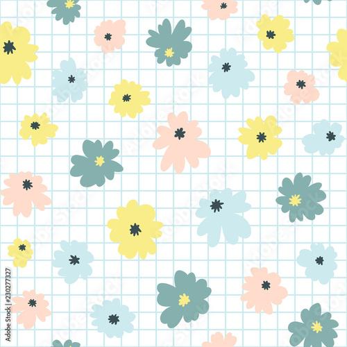 Obraz na plátně Seamless floral pattern in doodle style with flowers