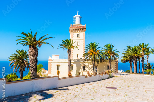 Foto op Aluminium Marokko Beautiful Lighthouse of Cap Spartel close to Tanger city and Gibraltar, Morocco in Africa