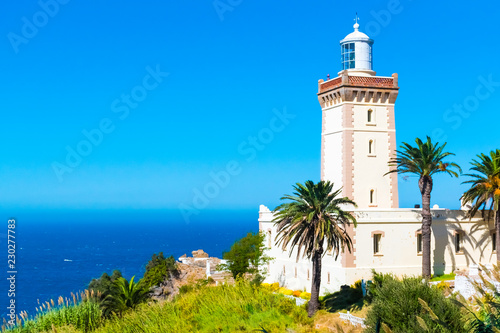 Beautiful Lighthouse of Cap Spartel close to Tanger city and Gibraltar, Morocco in Africa