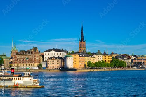 In de dag Stockholm Riddarholmen island with Riddarholm Church spires, Stockholm, Sweden