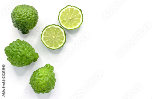 Valokuvatapetti Fresh Bergamot fruit isolated on white background with copy space