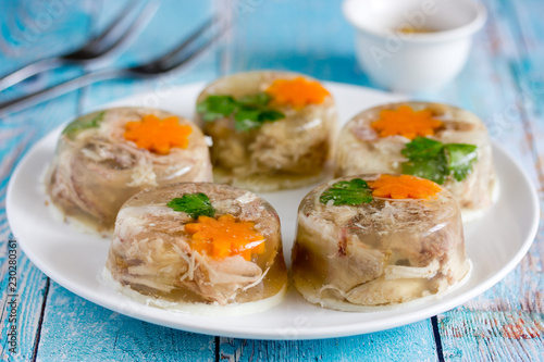 Aspic jellied meat with vegetables, traditional russian dish holodets Canvas Print