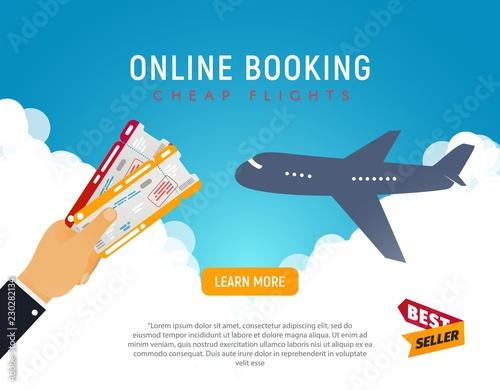 Fotografia  Cheap flight travel vector banner best seller