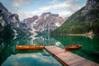 The Pragser Wildsee, or Lake Prags, Lake Braies one of the most famous lakes in the world. Lake is located in dolomite of italy