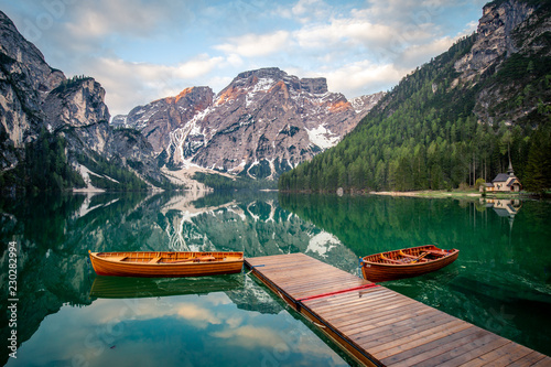 Foto op Plexiglas Bergen The Pragser Wildsee, or Lake Prags, Lake Braies one of the most famous lakes in the world. Lake is located in dolomite of italy