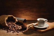 A Shot Of Espresso With Roaste...