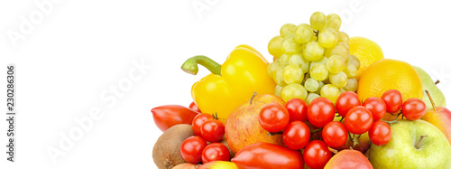 Fotobehang Verse groenten A set of fruits and vegetables isolated on white background. Free space for text. Wide photo .