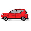 Red Car. Sketch-Style Icon. Symbol. Sign. Stock Vector Illustration. Transparent. White Isolated.