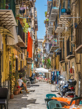 A Cozy And Narrow Road In Palermo Old Town. Sicily, Southern Italy.