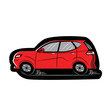 Red Car with Black Contour Sticker. Sketch-Style Icon. Symbol. Sign. Stock Vector Illustration. Transparent. White Isolated.